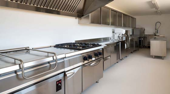 Johnson Gas - gas appliance repairs page image of typical commercial kitchen.